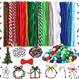 Caydo 600 Pieces Christmas Pipe Cleaners Sets, Including Pipe Cleaners, Pom Poms, Wiggle Googly Eyes, Christmas Color Jingle Bells for Xmas Festival Decoration DIY Craft