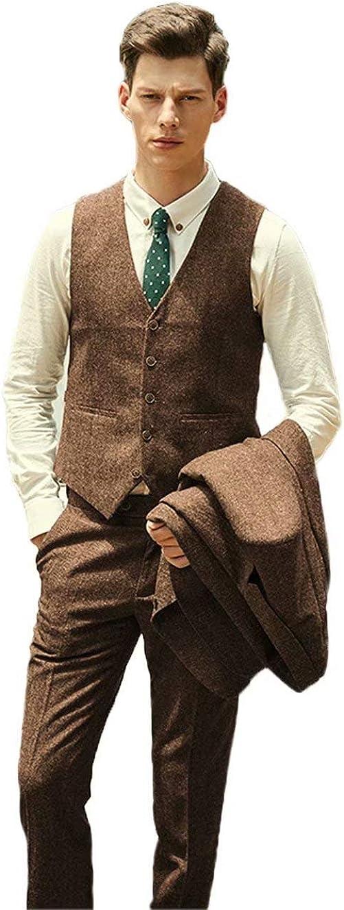 Wehilion Retro Herringbone Tweed Suit for Men Vest Pant Set 2 Pieces Green Men Suits Waistcoat
