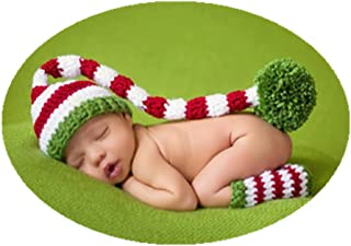 Fashion Cute Newborn Baby Photography Props Outfits Boy Girl Knitted Christmas Hat Socks Photo Shoot Costume Red