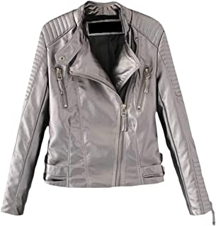 01408c6e99 Cromoncent Womens Long Sleeve Faux Leather Zip Moto Ruched Autumn Winter  Jacket