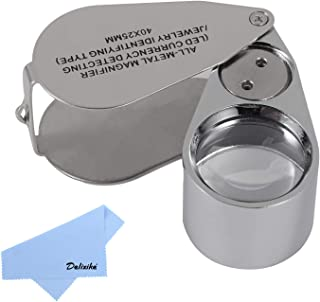 40X Full Metal Illuminated Jewelry Loop Magnifier,Delixike Pocket Folding Magnifying Glass Jewelers Eye Loupe with LED and UV Light(LED Currency Detecting/Jewlers Identifying Type Lupe)