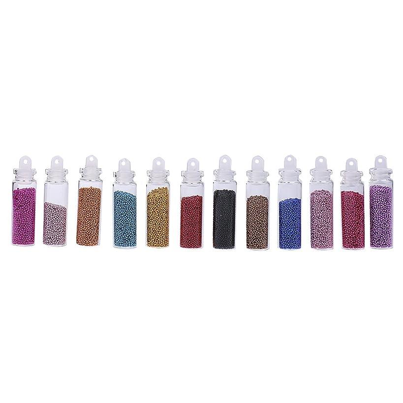 dailymall 12ボトルアクリルミニキャビアネイルアートデコレーションビーズ、マイクロビーズ、ネイルケア用、染色済み、穴なし、12色、約1mm、スクラップブッキング、ウェディングネイルアートデコレーション