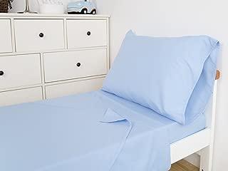 TILLYOU 3-Piece Microfiber Toddler Sheet Set (Sky Blue, Fitted Sheet, Top Flat Sheet and Envelope Pillowcase) - Silky Soft Crib Sheets Set Toddler Bed Set - Baby Bedding Sheet & Pillowcase Sets