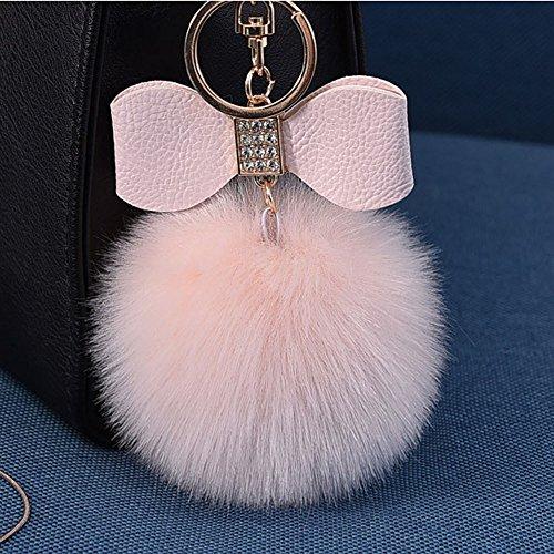 OSYARD Schlüsselanhänger,Keychain,Elegant Plüsch Ball Schlüsselanhänger Weich Keyring Rucksäcke Handtaschenanhänger Dekor Zubehör Fellbommel Schlüsselring mit Strass