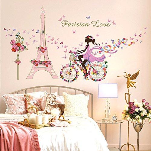 Wallpark Romántico Rosa Torre Eiffel Hada Niña en Flores Mariposas Bicicleta Desmontable Pegatinas de Pared Etiqueta de la Pared, Niños Hogar Infantiles Dormitorio Vivero DIY Decorativas Arte