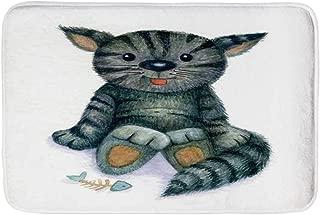 YOLIYANA Cat Lover Decor Soft Door Mat,Happy Teddy Cat Illustration with a Dead Fish Skeleton Sweet Cartoon Toy Humor Print for Living Room,19.6