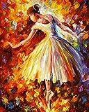 Bimkole DIY Paint by Numbers Kit de pintura al óleo para niña bailando por números, pintura acrílica para principiantes, pintura con pincel, para el hogar, la oficina, decoración de pared, 40 x 50 cm