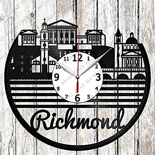 AIYOUBU Vinyl-Uhr - Vinyl-Wanduhr - Richmond Skyline - Custom Design - Handgefertigte Originelle Geschenk - Personalisierte Schallplatte Wanduhr - Einzigartige Art Home Decor-Without_LED
