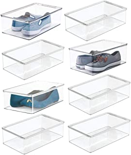 mDesign boîte à Chaussures (Lot de 8) – Boite de Rangement pour Chaussures en Plastique avec Couvercle – casier de Rangeme...