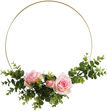 Sntieecr 5 Pack 19 Inch Large Metal Floral Hoop Wreath Macrame Gold Craft Hoop Rings for DIY Wedding Wreath Decor, Dream Catcher and Wall Hanging Craft