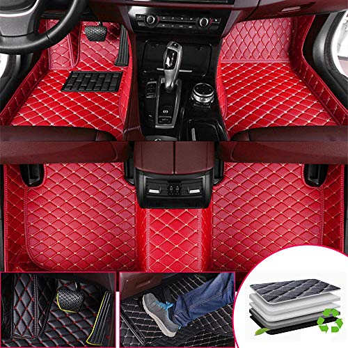 the floor mats Custom Car Floor Mats for Mercedes Benz G63 AMG 2010-2018 Full Surrounded Protection Luxury Leather Material Wear Resistant Car mat Carpet Liners Red