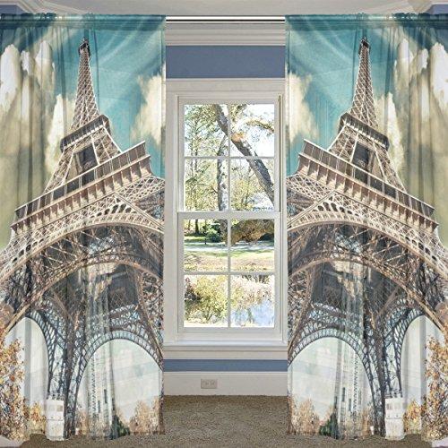 COOSUN Magnifique Vue sur la Rue de Paris Tour Eiffel Panneaux Voilage Tulle Polyester Fenêtre Panneau de Traitement Voile Rideaux pour Chambre Salon Décoration d'intérieur, 55x84 Pouces, 2 Panneaux