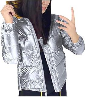PKTOP - Abrigo acolchado de algodón para mujer, con capucha, grueso y cálido