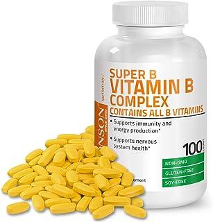 Bronson Vitamin B Complex (Vitamin B1, B2, B3, B6, B9 - Folic Acid, B12), 100 Tablets