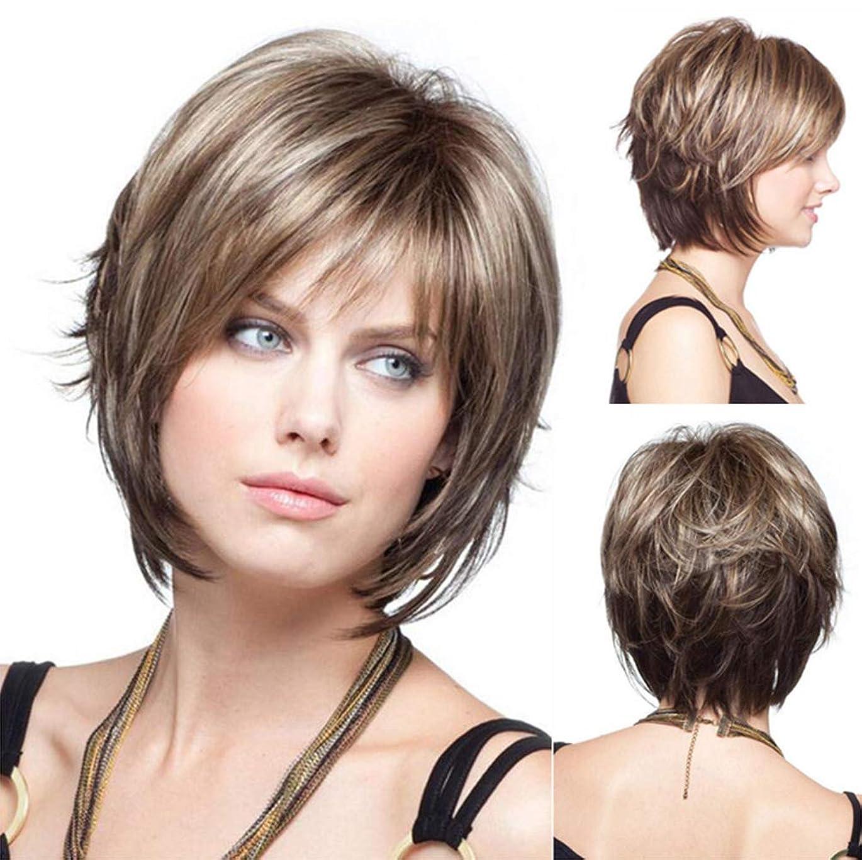 取り付けショップ挑発する人毛ウィッグライトブラウン32センチ用ウィッグ女性合成ブラジル耐熱ショート