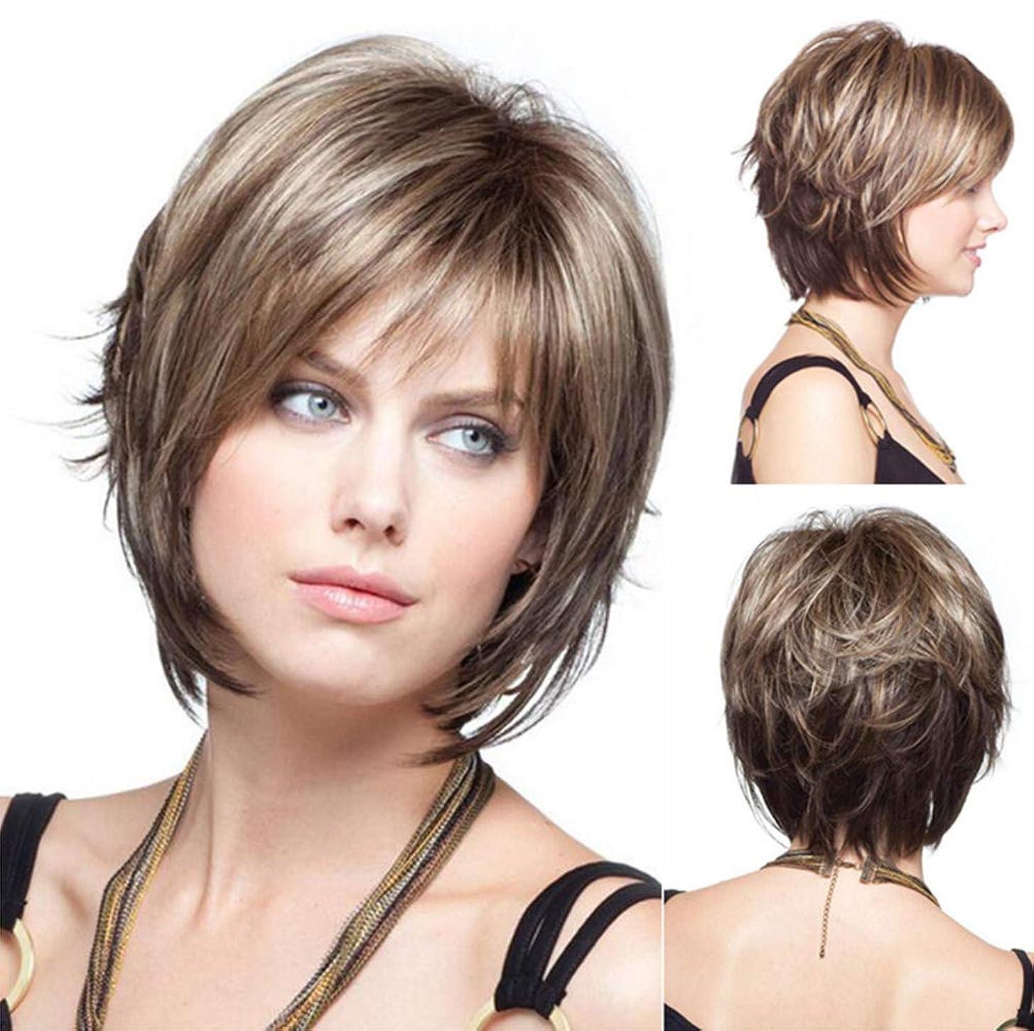 不快な連結する禁止する人毛ウィッグライトブラウン32センチ用ウィッグ女性合成ブラジル耐熱ショート