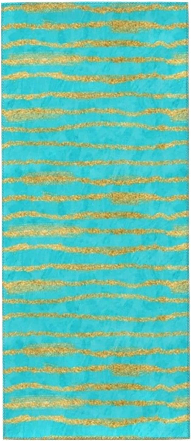 Thin Gold Glitter Directly managed store Stripes Turquoise NEW before selling ☆ Hand Washcloths Towels 27.5x