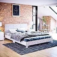 Vida Designs Victoria Double Bed, 4 ft 6 Bed Frame Upholstered Fabric Headboard Bedroom Furniture, S...