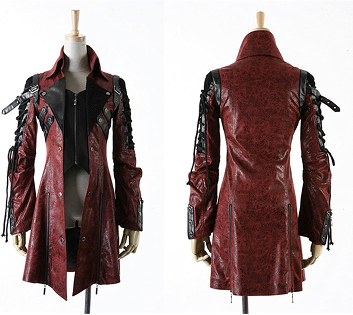 PUNK Gothic Vintage Faux Leather Long Jacket Coats Women Steampunk Autumn Winter Fashion Windbreakers