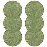 Tovaglietta, U 'Artlines Round-shapped Crossweave Woven Placemat Set di 6, Cotone, Filato, Verde, Rotondo