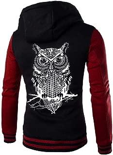 Men's Casual Slim Fit Baseball Jackets Owl Printed Bomber Cotton Coats Varsity Sport Button Hooded Sweatshirt