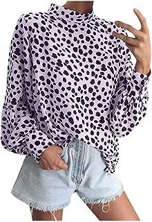 OULSEN Fashion Chic Women Blouse Long Sleeve Standing Collar Loose Casual Chiffon Polka Dot Shirt Tops