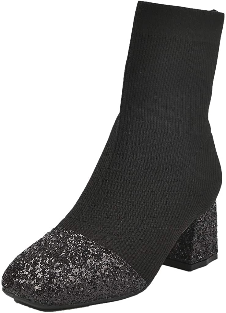 YooPrettyz Women Sequined Mid Calf Sock Boot Glitter Party Ankle Booties Square Toe Boot