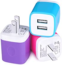 Charging Block, Sixsim 3-Pack 2.1A Universal Home Travel Dual Port Wall Charger USB Plug Charging Cube Brick Compatible for iPhone XS XR 8 7 6S Plus, iPad, Samsung, LG, HTC, Sony, Motorola, Blackberry