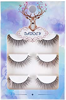 Davocy 3D Natural False Eyelashes, Multipack Demi Wispies Fake Eyelashes, Handmade Reusable False Lashes For Woman Makeup Cruelty Free (3 Pairs)