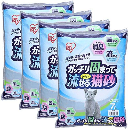 アイリスオーヤマ ガッチリ固まってトイレに流せる猫砂 7L×4袋 (まとめ買い)