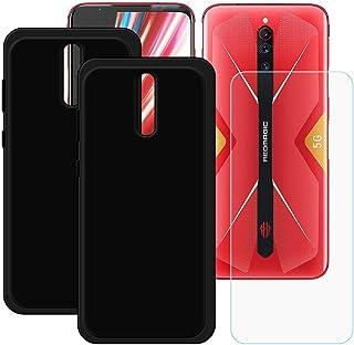 YZKJ [2 stycken skal för ZTE Nubia Red Magic 5G Cover svart mjukt silikon skyddshölje TPU skal skal 1 x pansarglas skärmsk...