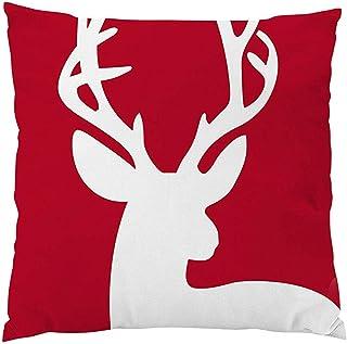Lfff Fundas de Almohada roja Reno Vintage Rojo Decoraciones Festivas para el hogar Cierre de Cremallera de Lino Fundas de Almohada