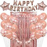 Globos de feliz cumpleaños de oro rosa Banners de feliz cumpleaños para hombres y mujeres Decoraciones de cumpleaños con 37 piezas incluyen cortinas de puerta con flecos de papel de aluminio