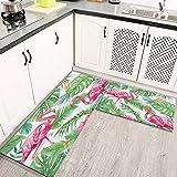 Alfombras Cocina Goma Alfombra de Baño Ducha 2PCS Pink Flamingo Art Green Tropical Jungle, alfombras de Cocina Antideslizantes Lavables