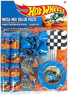 """Fast Riding Hot Wheels Wild Racer Birthday Party Mega Mix Favours Value Pack, Multi Colored, Plastic, 11 1/4"""" x 8 1/4"""" (Pkg. Size), 48-Piece"""