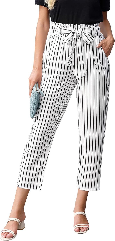GRACE KARIN Women Ruffled High Waist Casual Pants Cropped Striped Pants