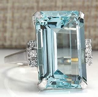 Lzz Vintage Fashion Lady 925 Silver Emerald Cut Blue Aquamarine Gemstone Ring with Diamond Ring Wedding Jewelry Size 5-11 (US Code 9)