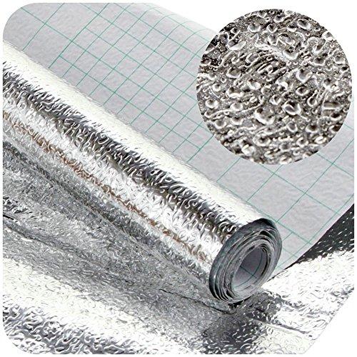 Sticker keuken keuken film zelfklevende hittebestendige spatbescherming aluminium folie DIY meubels waterdicht behang oliebestendig A 40 * 100CM zilver
