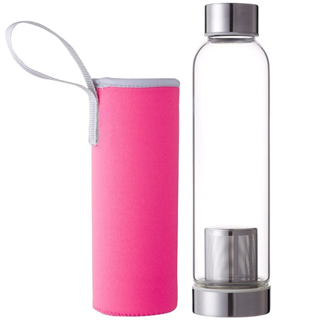試用収まるマット(デマ―クト)De.Markt 水筒 耐熱ガラス水筒 ガラス 耐熱ボトル 茶こし付きボトル ティーボトル  スポーツや遠足や弁当などの日に 550ml カバー付き