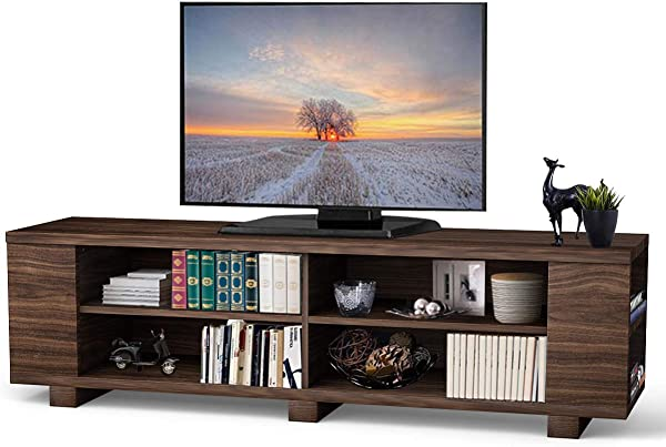 Tangkula TV Stand Modern Wood Storage Console Entertainment Center For TV Up To 60 Home Living Room Furniture With 8 Open Storage Shelves Coffee