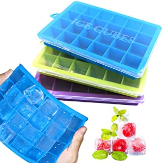 3 Packs Ice Cube Trays, Food Grade Silicone Ice Cube Molds with Removable Lid, Flexible and Easy Release 24 Ice Cube Molds Ideal for Whiskey, Cocktails, Juice, Baby Food and Frozen Treats