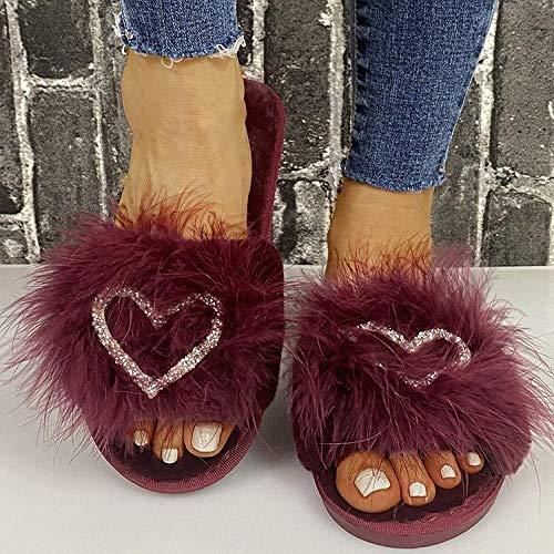 ypyrhh Zapatillas antideslizantes para interiores y exteriores, con puntera abierta, con diamantes de imitación, color rojo vino, 40, para mujer