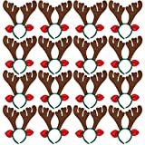 Max Fun 16Pcs Christmas Reindeer Antlers Headband Deer for Christmas Holiday Kid's Party Favors