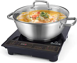 Duxtop 8100MC 1800W Portable Induction Cooktop, Countertop Burner Included 5.7 Quarts Professional Stainless Steel Cooking Pot with lid with Heavy Impact-bonded Bottom