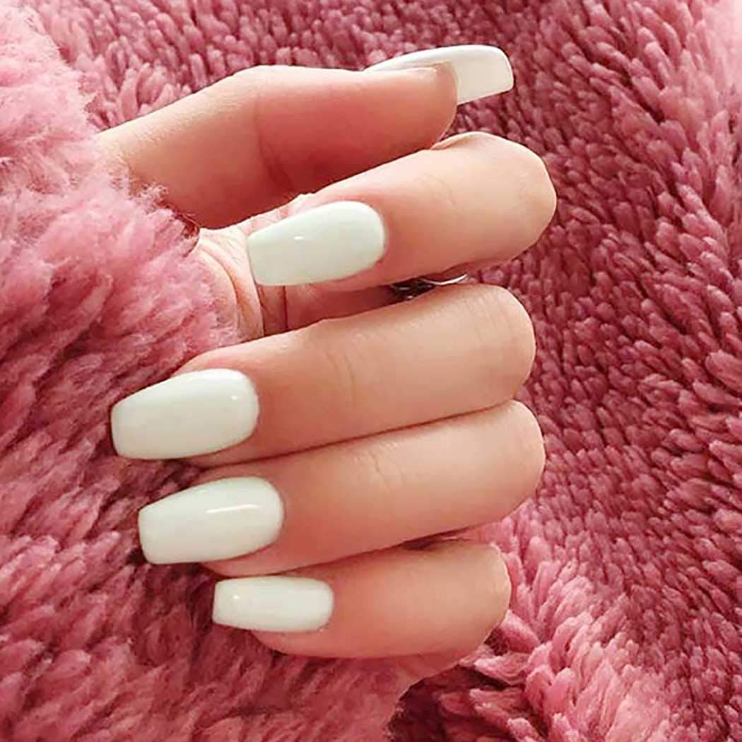 Award Bomine Coffin Press on nails White F Nails Glossy Ballerina Fake Complete Free Shipping