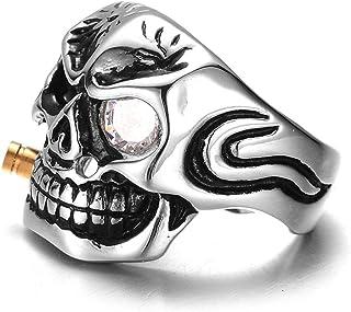 خاتم الجمجمة من الفولاذ المقاوم للصدأ مسبوك الجمجمة خاتم فردي الشرير للرجال مع حلقات سبائك