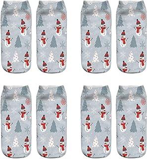 VJGOAL, Mujeres Moda casual Navidad 3D Impreso tejido liso fina impresión Calcetines Lindo tubo corto boca poco profunda baja ayuda calcetines 1 Pairs / 4 Pairs(Un tamaño,Multicolor16)