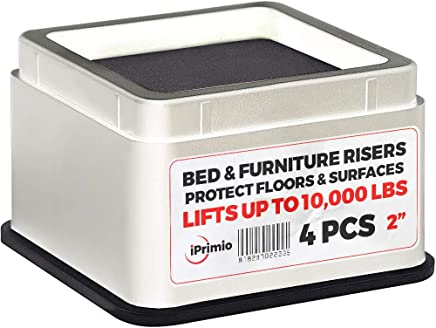 "iPrimio Bed and Furniture Risers – 4 Pack Square Elevator up to 2"" Per Riser and Lifts up to 10, 000 LBs - Protect Floors and Surfaces – Durable ABS Plastic and Anti Slip Foam Grip – Stackable – White"