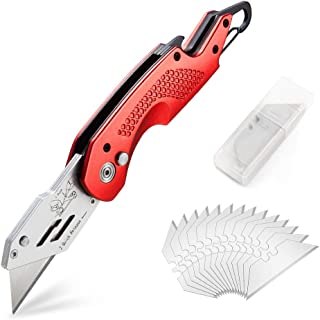 Professional Box Cutter Folding Utility Knife, E-PRANCE Pocket Carpet Knife with 14..