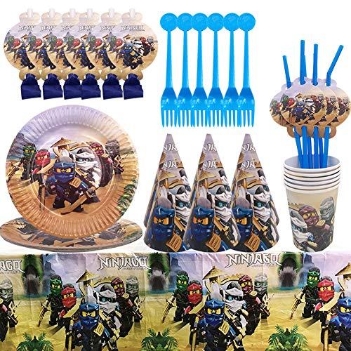 Gebutstag Party Set 52-Teiliges Ninja Teller Becher Servietten Trinkhalme für 6 Kinder Geburtstag Dekoration Set Happy Birthday Deko Bunte Partykette
